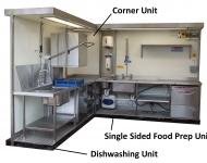 dishwashing corner food prep unit